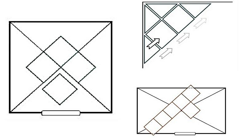 как поклеить потолочную плитку по диагонали